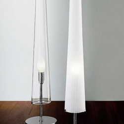 """Vesoi - Flute table lamp - Product description:  The flutetable lampwas designed by Mario de Rosain 2002.This modestyet chiclamp mimics its namesake brilliantly. The diffuser is available in natural crystal blown glass oretched and hand cut. The body is availablein an iron chrome finish. The cable is transparent to allow greater versatility.       Details:                                Manufacturer:              Vesoi                                  Designer:                                                        Mario de Rosa                                                                                         Made in:              Italy                                  Dimensions:                            H: 25.5"""" ( 65cm) X D: 5.5"""" ( 14cm)                                                 Light bulb:                                                        1 x 100WIncandescent                                                                                         Material              Glass"""