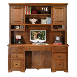 Eagle Furniture Manufacturers - Oak Ridge Double Pedestal Desk w Hutch (Dark Oak) - Finish: Dark Oak. Includes desk and hutch. Desk consists of one keyboard pencil drawer combo, four letter drawers, two raised panel file drawers. Hutch consists of two raised panel doors, five fixed wood shelves, three adjustable wood shelves. Designed with straight leg base, fluted detailing, finished back. Made from oak solids and veneers. Warranty: Eagle's products are guaranteed against material defects for one year from date of delivery to the dealer. Made in USA. No assembly required. Desk: 68 in. W x 24 in. D x 32 in. H (184.7 lbs.). Hutch: 68 in. W x 13.75 in. D x 46.5 in. H (99.7 lbs.)The Oak Ridge collection combines American oak hardwood with updated contemporary styling. Heavy crown molding, sleek lines, fluted side molding, black brushed metal hardware, solid oak frames and solid oak recessed doors give this transitional collection a style all its own