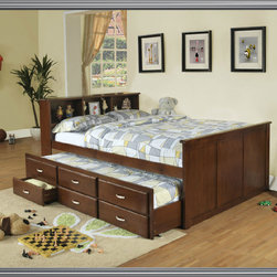 Full Trundle Bed - The Grouse Creek collection blend style and function to offer casual style and great storage for any youth bedroom in your home.  Available in walnut finish featuring a full size storage bookcase headboard, under bed trundle with three drawers.
