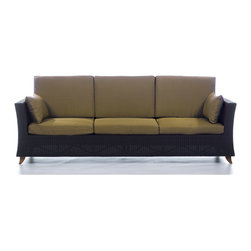 All Things Cedar - Rattan 4 Seater All Weather Wicker 8 Ft. SOFA with Golden Khaki cushion - Our 8 Foot Deep Seat Sofa is a great accomodation for weekend get togethers and offers plenty of room for a Sunday afternoon nap. Item is made to order.