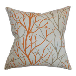 The Pillow Collection - Fderik Orange 18 x 18 Patterned Throw Pillow - - Pillows have hidden zippers for easy removal and cleaning  - Reversible pillow with same fabric on both sides  - Comes standard with a 5/95 feather blend pillow insert  - All four sides have a clean knife-edge finish  - Pillow insert is 19 x 19 to ensure a tight and generous fit  - Cover and insert made in the USA  - Spot clean and Dry cleaning recommended  - Fill Material: 5/95 down feather blend The Pillow Collection - P18-D-21043-TANGERINE-C100