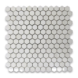 "Stone Center Corp - Thassos White Marble Hexagon Mosaic Tile 1 inch Polished - Thassos white marble 1"" (from point to point) hexagon pieces mounted on 12"" x 12"" mesh tile sheet"