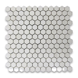 "Stone Center Corp - Thassos White Marble Hexagon Mosaic Tile 1 inch Polished - Thassos White Marble 1"" (from point to point) hexagon pieces mounted on 12x12"" mesh tile sheet"