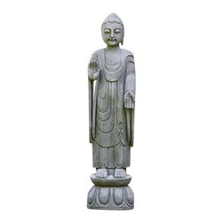 "Campana - Royal Buddha - Royal Buddha 11.5"" Length 7.5"" Width 47.5"" Height 178Lb Buddha, material composition is cast stone. Constructed for all climates & temperatures. Royal Buddha should not be in contact with frozen ground."