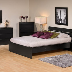 "Prepac Avanti 4PC Bedroom Set in Black - The Avanti 4PC Bedroom Set (Full / Double Platform Bed, 2 Nightstands and Dresser) in Black is more than just a practical addition to your bedroom. The integrated headboard offers a clever alternative to buying a bed and headboard separately, and its 3 horizontal slats will complement any modern space. The gently sloped headboard provides the perfect position for reading or watching TV in bed. A 3"" deep recess ensures that your mattress will fit snugly within the bed frame and sides are finished with sturdy 3½""wide rails. Storage space underneath the platform is ideal for baskets or tote boxes. Maximum comfort with minimal fuss. The Avanti 2-Drawer Nightstand in Black not only goes with everything, it fits everything, too. 2 full-sized drawers provide ample space for bedside essentials like books, while the clean design blends in perfectly with your bedroom's décor. Put your lamp, alarm clock and reading glasses on top, and enjoy a practical yet stylish bedside solution. With a crisp style that fits in with any décor, this Night Stand is a practical addition to any home. Each piece is constructed from CARB compliant composite wood with an attractive and durable black laminate finish. Drawers have solid wood sides that run on metal drawer slides with built-in safety stops. The Avanti 6-Drawer Dresser in Black is just what your bedroom needs. Its six drawers have room for all your clothing, linens and whatever else you need out of sight. Display a mirror or other decorative accessories on top and take advantage of its minimalist versatility. Save space and complement your décor, all in one dresser. Simple straight lines and crisp clean form makes this dresser perfect for a bedroom. Each drawer glides for smooth, safe opening and closing and easy access to all of your clothing and belongings."