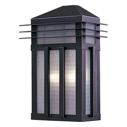 Maxim Lighting - Maxim Lighting Gatsby -Outdoor Wall Sconce X-UBRP3278 - Sleek lines and mission/craftsman inspired style gives a surprisingly updated look to this Maxim Lighting outdoor wall sconce. From the Gatsby Collection, it features a stylish Burnished finish that compliments the unique look of the prairie rib frost glass panels that pull the look together.