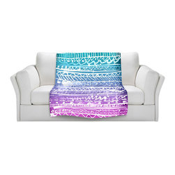DiaNoche Designs - Fleece Throw Blanket by Organic Saturation - Pastel Ombre Aztec - Original Artwork printed to an ultra soft fleece Blanket for a unique look and feel of your living room couch or bedroom space.  DiaNoche Designs uses images from artists all over the world to create Illuminated art, Canvas Art, Sheets, Pillows, Duvets, Blankets and many other items that you can print to.  Every purchase supports an artist!