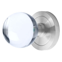 Stainless Steel Glass Knob - UK 400 71 - Finish: Satin stainless steel with glass knob