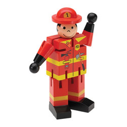 """The Original Toy Company - The Original Toy Company Kids Children Play Mini Fireman Display of 12 - Mini Fireman. Bend me, shape me into various positions by moving my head, arms, and legs. These attractive compact counter diplays of 12 wooden figues should be a must have for your specialty store. 5"""" average height. Ages 3 plus."""