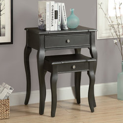Monarch Specialties 3875 2 Piece Nesting Table Set in Antique Black