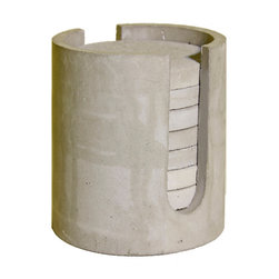 """Cfab Studios - Concrete Coasters M-Holder Water Absorbing Concrete Full Set FOREVER, 3"""" - SALE INCLUDES THE HOLDER AND (8) 3"""" COASTERS"""