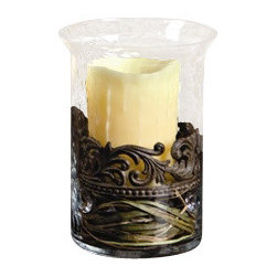 """GG Collection - The GG Collection Glass/Metal Cylinder Candle Holder, Small - The GG Collection Small Glass/Metal Cylinder Candle Holder  9.75"""" High"""