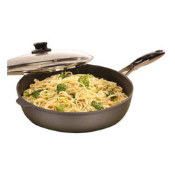 "Swiss Diamond - Nonstick Saute Pan with Stainless Steel Handle & Lid - 5.8 qt (12.5"") - Searching for a spacious pan to prepare your favorite family meals? Look no further. The Swiss Diamond 5.8-quart (12.5 inch) Saute Pan features an ergonomic stainless steel handle for extra stability. Cast aluminum construction guarantees even heat distribution without hot spots. Forget messy clean-up  warm soapy water and a sponge is all you will need to keep Swiss Diamond cookware sparkling clean! The heat-tempered glass lid makes it easy to monitor your food as it cooks and an adjustable vent allows you to contain or release steam. Oven-safe up to 260C (500F). Dish washer safe, but we recommend hand washing. Made in Switzerland."