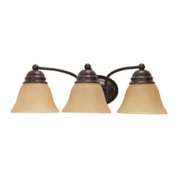 Nuvo Lighting - Empire Mahogany Bronze Three-Light Energy Star Bath Fixture with Champagne Washe - Empire Mahogany Bronze Three-Light Energy Star Bath Fixture with Champagne Washed Linen Glass Nuvo Lighting - 60/3127