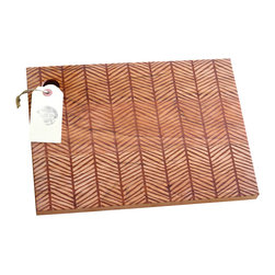 Richwood Creations - Solid Wood Herringbone Pattern Cutting Board, Cherry, 13x9.5 - This laser engraved herringbone pattern is a unique style of cutting board. Add some flare to your kitchen with a piece of handmade fashion! Available in cherry or maple wood, and also various sizes.