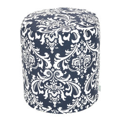 Outdoor Navy Blue French Quarter Small Pouf