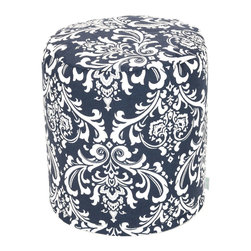 Majestic Home - Outdoor Navy Blue French Quarter Small Pouf - A little pouf can go a long way in your home, serving in a pinch as a footrest, stool or impromptu side table. This cute and casual beanbag pouf is designed to be adaptable to your life; it's soft and easy to move around wherever it's needed, and the cover can be removed for cleaning up spills and smudges. It has a fresh, pretty print to add some color to your space, and it's even safe for outdoor use.