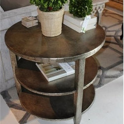 Aluminum Riveted Two-Tier Side Table - This aluminum-riveted two-tier side table has an eclectic blending of colors, textures, and materials. The aluminum sheet covered table adds a shimmer of silver and an element of character to any spot in your home. Take a look at this and more on Red Chair Market.