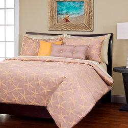 SIS Covers - SIS Covers Sea Star Lemon Duvet Set - 6 Piece King Duvet Set - 5 Piece Twin Duvet Set  Duvet 67x88, 1 Std Sham 26x20, 1 16x16 dec pillow, 1 26x14 dec pillow. 6 Piece Full Duvet Set  Duvet 86x88, 2 Std Shams 26x20, 1 16x16 dec pillow, 1 26x14 dec pillow. 6 Piece Queen Duvet Set  Duvet 94x98, 2 Qn Shams 30x20, 1 16x16 dec pillow, 1 26x14 dec pillow. 6 Piece California King Duvet Set Duvet 104x100, 2 Kg Shams 36x20, 1 16x16 dec pillow, 1 26x14 dec pillow6 Piece King Duvet Set  Duvet 104x98, 2 Kg Shams 36x20, 1 16x16 dec pillow, 1 26x14 dec pillow. Fabric Content 1 70 Rayon, 30 Polyester. Guarantee Workmanship and materials for the life of the product. SIScovers cannot be responsible for normal fabric wear, sun damage, or damage caused by misuse. Care instructions Machine Wash. Features Reversible Duvet and Shams.