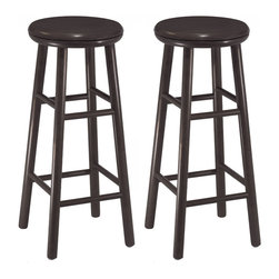 Winsome - 30 in.  Swivel Bar Stool - Set of 2 - Set of 2 Swivel Bar Stools in dark espresso finish. Solid wood sturdy construction with foot rest bars; round legs and slightly curved 13.5 in. seat. At 30.94 in. high, it is a great size for bar height counters and tables.