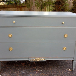 Hand Painted Vintage Dressers - Paris Grey Solid Wood Dresser with Antique Brass Drawer Pulls and Gold accents.