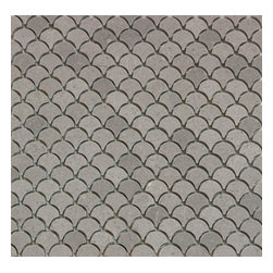 Mission Stone Tile - Mini Curve Appeal - Grey Limestone Honed - Fan Shaped Mosaic, 1 Square Foot - Sold by the square foot