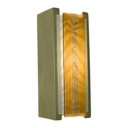 A19 Lighting - Safari Modern Wall Sconce Sagebrush and Albino Caramel - This Wall Washer Sconce Is Fun, Bold And Adventurous. The Safari Wall Sconce Features Two Different Two Layers Of Fused Glass Panels, Zebra Print And A Stripe Of Intriguing Bubbles, A Top A Compact Rectangular Ceramic Base With A Glossy Glaze Finish. Light Shines Through Openings At The Top, The Bottom And Illuminates The Dramatic Patterns.Height:10.75