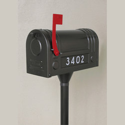 Ecco Steel Mailbox and Post Package - This mailbox is manufactured by ecco.  It comes in a variety of finishes (shown in charcoal), and includes the post and the mailbox itself.  It retails for $250.00 with free shipping at http://www.mailboxixchange.com
