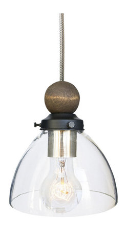"""Hammers & Heels - Hand Blown 6"""" Clear Glass & Wood Stainless Steel Cord Pendant Light - RUSTIC MEETS MODERN WOOD PENDANT"""