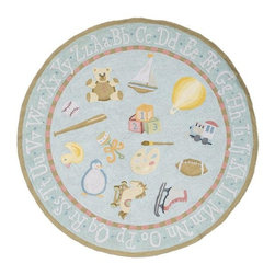 Home Decorators Collection - Playtime Area Rug - The fun toy and hobby iconography of our Playtime Area Rug makes it perfect for a baby or toddler's room. This durable cotton rug features a soft palette that adds a soothing touch. Hand hooked of 100% cotton. Available in a variety of sizes. Part of our Kids Collection.