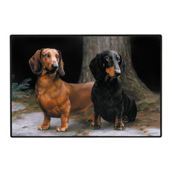 225-Dachshund-Path Doormat - 100% Polyester face, permanently dye printed & fade resistant, nonskid rubber backing, durable polypropylene web trim on the porch or near your back entrance to the house with indoor and outdoor compatible rugs that stand up to heavy use and weather effects