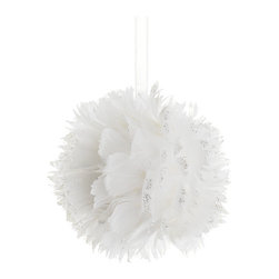 Silk Plants Direct - Silk Plants Direct Glittered Feather Ball Ornament (Pack of 12) - Pack of 12. Silk Plants Direct specializes in manufacturing, design and supply of the most life-like, premium quality artificial plants, trees, flowers, arrangements, topiaries and containers for home, office and commercial use. Our Glittered Feather Ball Ornament includes the following: