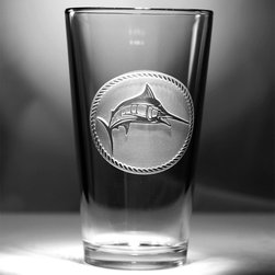 """Crystal Imagery, Inc. - Swordfish, Marlin, Fisherman Engraved Pint Glass Set - Engraved swordfish or marlin pub glass isthe perfect gift for a sailor or fisherman or as a beach house glassware housewarming gift. Deeply carved using our sand carving technique, each of our custom pint or pub glasses are meticulously custom made to order making them the perfect gift for those seeking unique gift ideas for beer lovers - men and women alike. At 5.75"""" high by 3.3"""" wide, our custom stemless wine glass holds 16 oz of your favorite wine in style. A custom engraved pint or pub glass will be the favorite gift at any special gift giving occasion. Personalized or monogrammed pint or pub glasses are a unique and special bridal shower gift, engagement gift, wedding gift or engagement gift. Also great gift idea for girlfriend or wife gifts, boyfriend or husband gifts, retirement gift or birthday for the classy man or woman who has everything. Dishwasher safe. Made in the USA. SOLD AS A SET OF 4."""