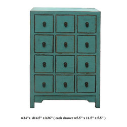 Chinese Pastel Blue 12 Drawers Storage Cabinet - This is a side table with 12 small drawers for accessories storage. Its bright light color enriches and enlight the boring room.