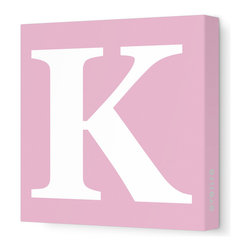 "Avalisa - Letter - Upper Case 'K' Stretched Wall Art, 12"" x 12"", Pink - Spell it out loud. These uppercase letters on stretched canvas would look wonderful in a nursery touting your little one's name, but don't stop there; they could work most anywhere in the home you'd like to add some playful text to the walls. Mix and match colors for a truly fun feel or stick to one color for a more uniform look."