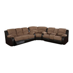 "AC Pacific - 3 pc Carrie two tone saddle padded microfiber and dark brown leather like - 3 pc Carrie two tone Saddle padded microfiber and dark brown leather like sectional sofa with recliners and center console.  This set features the sofa with recliners on both ends and love seat with recliners on both ends and a center console with cup holders.  sofa measures 87"" x 39"" x 40"" H.  love seat measures 76"" x 39"" x 40"" H.  Corner wedge measures 67"" x 39"" x 40"" H.  Some assembly required."