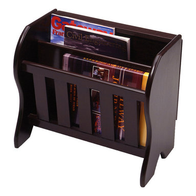 Winsome Wood - Winsome Wood Magazine Rack w/ Side Flip Top in Dark Espresso - This charming magazine rack has two slots to hold several magazines, newspapers, and your current novel, while also providing a flat surface on which to rest a drink or a plate. Magazine Rack (1)