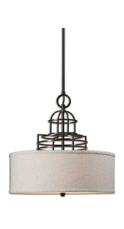 Uttermost - Uttermost Cupola 3 Light Drum Shade 22021 - Architectural metal upper dome structure in rich weathered bronze featuring a warm beige linen hardback shade, and frosted glass diffuser