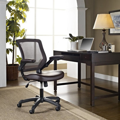 Modway - Modway Veer Office Chair with Flip-up Arms - EEI-291-BLK - Shop for Tables and Chairs Sets from Hayneedle.com! When you're at the office behind your desk working diligently sometimes you just need to stretch your arms and for those times when elbow room is needed the Modway Veer Office Chair with Flip-up Arms is the perfect chair. With a form-fitted breathable mesh back and padded waterfall vinyl seat you can make sure your back and thighs are comfy too. And this modern office chair is fully adjustable allowing you to match your body weight using the tilt-plus tension knob.About East End ImportsBased in New York City East End Imports designs and manufactures modern classics. With original ideas and innovative interpretations East End delivers the highest-quality contemporary furnishings in the widest selection of colors at the lowest prices possible.