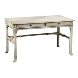 Uttermost - Uttermost Bridgely Aged Writing Desk 25602 - Plantation-grown mango wood makes up the solid, carved and dovetail construction with deep-grained mindi veneer in an aged white finish with antique brass drawer pulls.