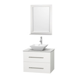 """Wyndham Collection - Centra Bathroom Vanity in White,WT  Carrera Top,Pyra White Sink,24"""" Mir - Simplicity and elegance combine in the perfect lines of the Centra vanity by the Wyndham Collection. If cutting-edge contemporary design is your style then the Centra vanity is for you - modern, chic and built to last a lifetime. Available with green glass, pure white man-made stone, ivory marble or white carrera marble counters, with stunning vessel or undermount sink(s) and matching mirror(s). Featuring soft close door hinges, drawer glides, and meticulously finished with brushed chrome hardware. The attention to detail on this beautiful vanity is second to none."""