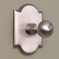 Solid Brass Robe Hook with Decorative Base - Brushed Nickel - Add this robe hook to your master bath or guest bathroom for a convenient place to hang robes, towels, and clothes. The solid brass, classic knob hook and decorative backplate work well with any home's decor.