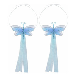 "Bugs-n-Blooms - Dragonfly Tie Backs Blue Multi-Layered Dragonflies Tieback Pair Set Decorations - Window Curtains Holder Holders Tie Backs to Decorate for a Baby Nursery Bedroom, Girls Room Wall Decor - 5""W x 4""H Pink & White Multi-Layered Curtain Tieback Set Dragonfly 2pc Pair - Beautiful window curtains tie backs for kids room decor, baby decoration, childrens decorations. Ideal for Baby Nursery Kids Bedroom Girls Room.  This gorgeous 3D dragonfly tieback set is embellished with sequins, glitter and has a beaded body. This pretty dragonfly decoration is made with a soft bendable wire frame & have color match trails of organza ribbons. Has 2 adjustable wires to wrap around the curtains; or simply remove & add your own ribbon for a personal & custom look. Visit our store for more great items. Additional styles are available in various colors, please see store for details. Please visit our store on 'How To Hang' for tips and suggestions. Please note: Sizes are approximate and are handmade and variances may occur. Price is for one pair (2 piece)"