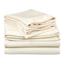 650 Thread Count Egyptian Cotton Split King Ivory Solid Sheet Set - 650 Thread Count Egyptian Cotton oversized Split King Ivory Solid Sheet Set