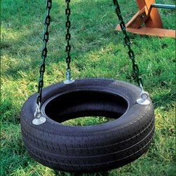 "Three Chain Tire Swing - Up to three children will have a swinging time on our 30"" roto-molded tire. Designed for use beneath angle bases for 360 degrees of fun. Black only. Mounting hardware included."
