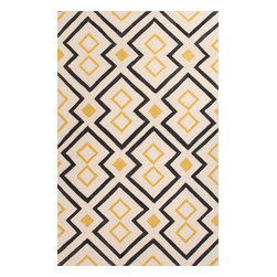 Jaipur Rugs - Hand-Tufted Moroccan Pattern Polyester Yellow/Black Area Rug ( 7.6x9.6 ) - A youthful spirit enlivens Esprit, a collection of contemporary rugs with joie de vivre! Punctuated by bold color and large-scale designs, this playful range packs a powerful design punch at a reasonable price.