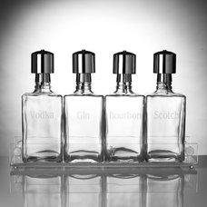 Traditional Decanters Liquor Decanter Bar Set with Pump Dispensers