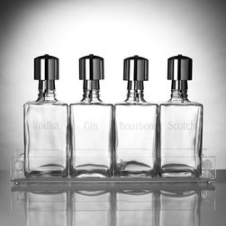 Liquor Decanter Bar Set with Pump Dispensers - A handsome set of decanters like these is an essential accessory for any bar. Plus, personalized decanters make great gifts for the man who has everything!