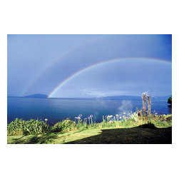 Custom Photo Factory - Double Rainbow Over New Zealand Canvas Wall Art - Double Rainbow Over New Zealand  Size: 20 Inches x 30 Inches . Ready to Hang on 1.5 Inch Thick Wooden Frame. 30 Day Money Back Guarantee. Made in America-Los Angeles, CA. High Quality, Archival Museum Grade Canvas. Will last 150 Plus Years Without Fading. High quality canvas art print using archival inks and museum grade canvas. Archival quality canvas print will last over 150 years without fading. Canvas reproduction comes in different sizes. Gallery-wrapped style: the entire print is wrapped around 1.5 inch thick wooden frame. We use the highest quality pine wood available. By purchasing this canvas art photo, you agree it's for personal use only and it's not for republication, re-transmission, reproduction or other use.