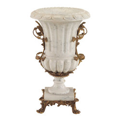 John Richard - John Richard White Marble and Brass Urn JRA-8636 - A magnificent carved white marble urn with solid brass arms and base. This marble urn is a must for the most elegant of homes.